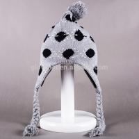 2017 hot sale100%Acrylic 33*20cm fabric jacquard top fashion studded Deluxe Peruvian caps with Pom Knitting Earflap Hats Manufactures