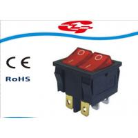 6 Pin Double Electrical Rocker Switches With Light Indicator , Electrical On Off Switch 10a 250v Manufactures