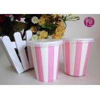 8 Ounce Single Wall Striped Cold Paper Cups Double PE Coated Manufactures