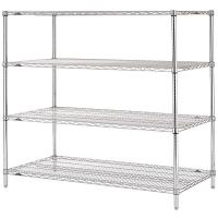 Stable Leveling Feet  Commercial Wire Shelving  /  Matal Silver Rack In Shopping Mall Manufactures