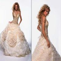 Sexy Spaghetti Strap Beaded Organza Satin Bridal Gown (JY11463) Manufactures