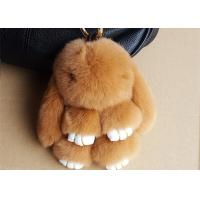 Nice Brown Rabbit Fur Keychain , Bunny Fur Doll Key Chain for Women Bag Charms Manufactures