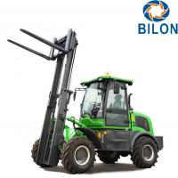 Off Road Diesel Forklift Truck 3 Ton Rated Loading Capacity With Four Wheel Drive Manufactures