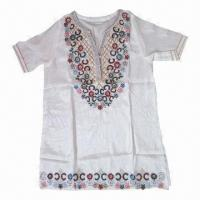 China Ladies' Blouse/Tunic, 100% Cotton + Embrodery + Beards + Pearls on sale