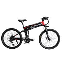 China Black 26 Inch Folding Mountain E Bike With Suspension Fork Hard Wearing on sale