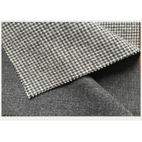 Causal Suit / Pants Houndstooth Tartan Wool Fabric Black And White 820g Manufactures