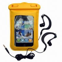 Water-resistant Bag/Dry Pouches for iPhone/MP3/4 Players/iPod, Made of PVC and ABS, IPX8 Manufactures