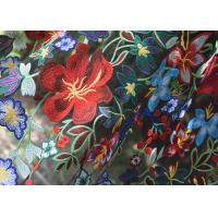 Polyester Multi Colored Embroidered Floral Lace Fabric For Haute Couture Manufactures