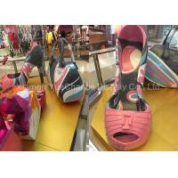 Giant Size Shopping Mall Decorations , Fiberglass High Heeled Shoes Pink Color Manufactures