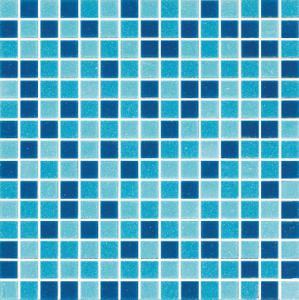 FM002 Blue mix glass pool mosaic project base glass mosaic Manufactures