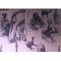 China Printed Polycotton Fabric Regenerated Fabric Charcoal Drawing on sale