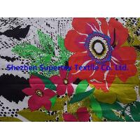 Custom Fully Combed Sateen Cotton Fabric With Orange Flowers Print Manufactures