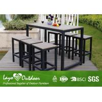 China Synthetic Wood Outdoor Furniture Faux Wood Patio Dining Set With Relax Style Bar And Stools Moisture - Proof on sale