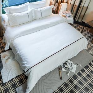 China Cheap price jacquard bedding set custom ribbon hotel duvet cover set bed sheet on sale