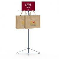 Grocery Promotion Bags Holder Metal Floor Display Stands Two Metal Hooks Long Life Manufactures