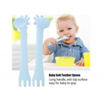 Soft Silicone Baby Teether Cute Giraffe Feeding Spoons Baby Gum-Friendly First Stage Soft Tip for sale
