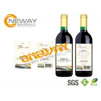 China Printing Neck Wine Bottle Labels CMYK / Full Color Self Adhesive Labels on sale