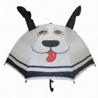 China 18-inch x 8 ribs Kid's Manual Open Umbrella with Animal Picture, 170T Polyester Solid Fabric on sale