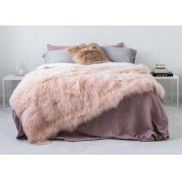 Genuine Tibetan Sheepskin Throw For Queen Size Bed, Soft Sheepskin Fur Blanket  Manufactures