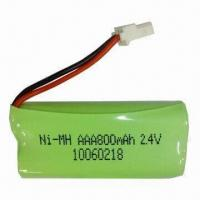 NiMH Battery Pack with AAA Size and 2.4V Nominal Voltage, Suitable for Cordless Phone Manufactures