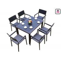 China 1 By 4 / 6 Outdoor Restaurant Tables Sets Plastic Wood Metal Frame Patio Dining Furniture  on sale