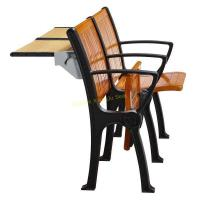 Walnut Wood Interlocked Folding Up Metal Leg Amphitheater Chairs With Hidden Table Manufactures