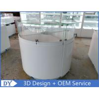 Modern Matte White Round Jewelry Showcase With Locks / Led Lights Manufactures