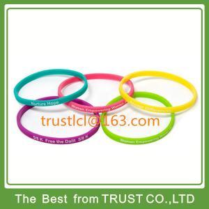 Customized 1/5 inch silicone bracelet, narrow silicone wristband, printed bracelet Manufactures