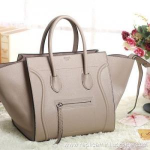 Celine Luggage Phantom Bag Pebbled Leather Grey Manufactures
