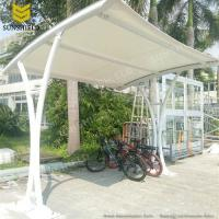Carports With Cloth Roof : Single slope steel fabric carport with arched roof