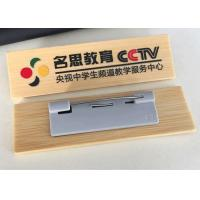 Reusable Solid Wood Engraved Name Badges , Full Color Name Badges With Safety Pin Manufactures
