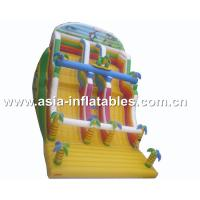 China Inflatable Dual Lane Slide With Palm Tree For Sand Beach Games on sale