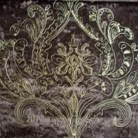 Upholstered Embroidered Velvet Fabric, Polyester Fabric, Comes in Brown Manufactures