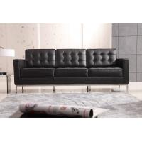 Quality Living Room Classic Contemporary Sofa Black Leather Florence Knoll Relaxed Type for sale