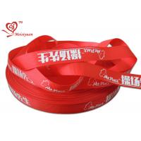 China 2.5cm red custom logo printed satin ribbon for packing decoration wholesale