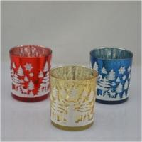 christmas glass candle holder glass candle jars containers Manufactures