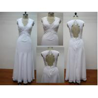 Sheath Chiffon With Lace Floor Length Real Sample Wedding Dresses / Bridal Gown Manufactures