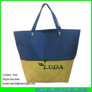 China LUDA fabric pieced straw beach bag sea grass straw fashion handbags on sale