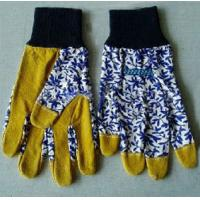 "China 9.5"" Yellow Leather & Blue Floral Cotton Gardening Gloves on sale"