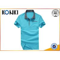 China Blue School Boys Uniform Polo Shirts With Pocket , Cotton Material on sale