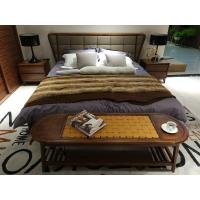 2017 New design of  Fabric Upholstered headboard Bed by Walnut wood frame for Fashion Apartment  bedroom furniture use Manufactures