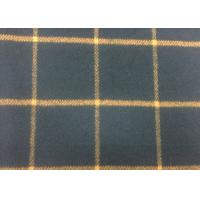 50% Wool Navy / Orange Tartan Plaid Fabric Fashionable For Fall / Winter Manufactures