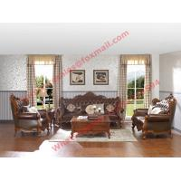 Quality European Classic Solid Wooden Carving Frame with Italy Leather Upholstery Sofa for sale