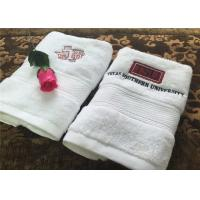 Durable Hotel Towel Set , 100% Cotton And Embroidery Hotel Face Towel With Satin Stripe Manufactures