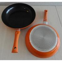 China Orange Aluminum Induction Cooktop Frying Pan With Black Ceramic Coated on sale
