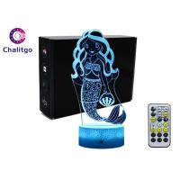 Mermaid 3D Night Light Table Lamp , Glass Illusions Lamps For Girls Decoration Manufactures
