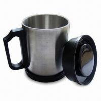 Stainless Steel Travel Mug with Lid and Wide Base, Customized Logo Printing is Welcome Manufactures