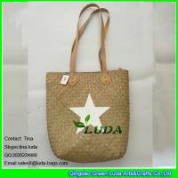LUDA natural handmade seagrass straw bags with white star painted