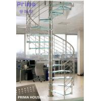 Glass Spiral Staircase / Stainless Steel Railing Spiral Stair Manufactures
