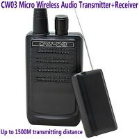 China CW03 Micro Wireless Audio Transmitter+Receiver Listening Bug 500M Remote Sound Monitor on sale